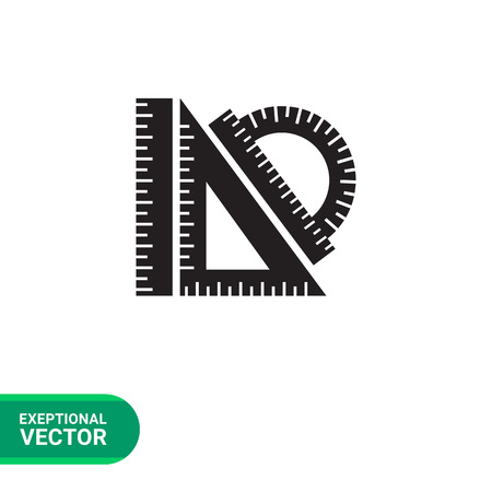 set square: Vector icon of protractor ruler, set square, ruler Illustration
