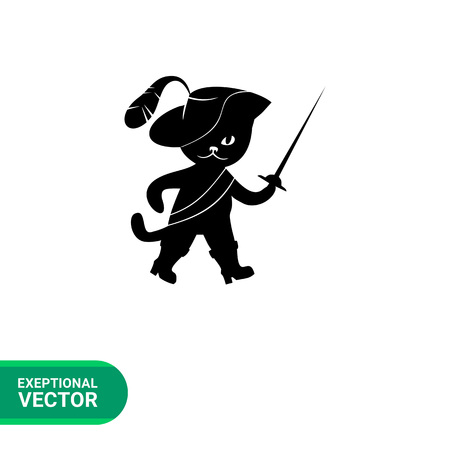 rapier: Puss in boots simple icon. Black vector illustration of Puss in boots wearing feathered hat and holding rapier Illustration