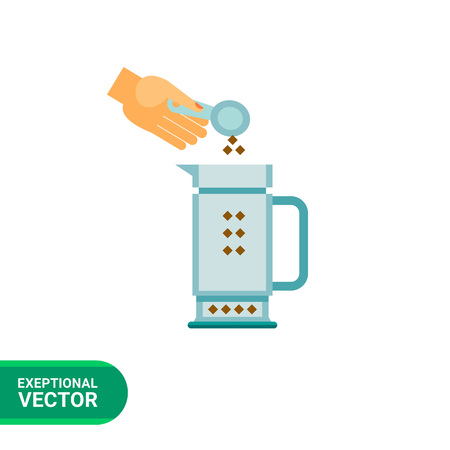 Icon Of Human Hand Putting Ground Coffee To Pot Stock Vector