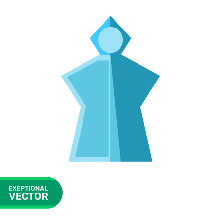 poncho: Vector icon of blue lightweight rain poncho with hood