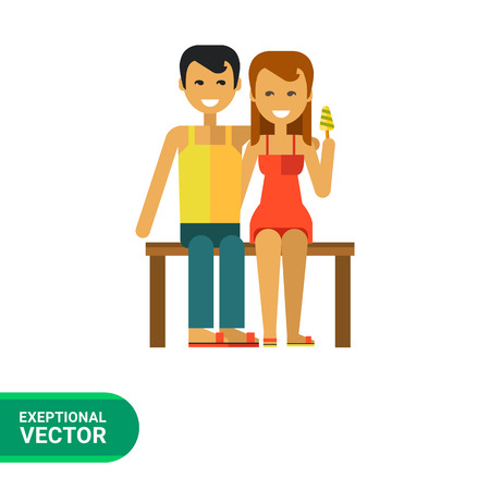 Multicolored vector icon of young couple sitting on bench and hugging