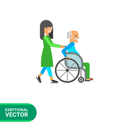 assisted: Multicolored flat icon of old man in wheelchair assisted by nurse