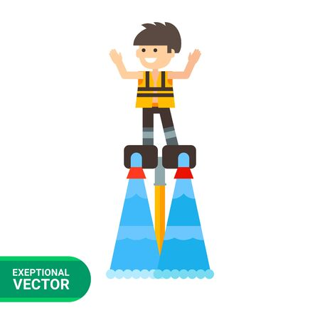 young man standing: Multicolored flat icon of young man standing on flyboard Illustration