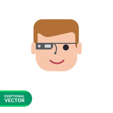 smart man: Vector icon of man wearing smart glasses Illustration