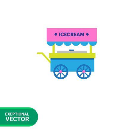 ice cream cart: Icona vettore multicolore di carretto dei gelati