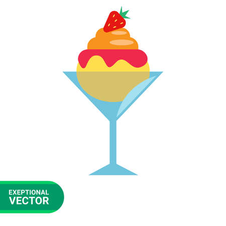 Vector icon of ice cream with topping in waffle cone