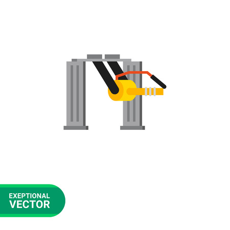 screwing: Multicolored vector icon of industrial equipment. Machine tooling unit