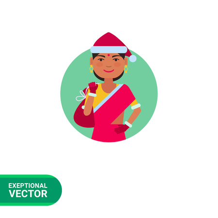 bindi: Female character, portrait of Indian woman in Santa costume and holding sack with gifts