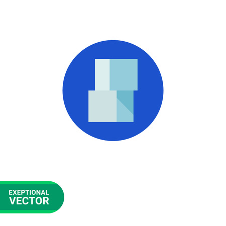 whiteblue: Icon of two white-blue sugar cubes in blue circle Illustration