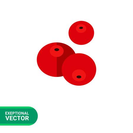 cranberries: Vector icon of three ripe fresh cranberries