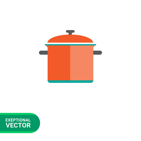 preparing food: Icon of red saucepan with lid Illustration