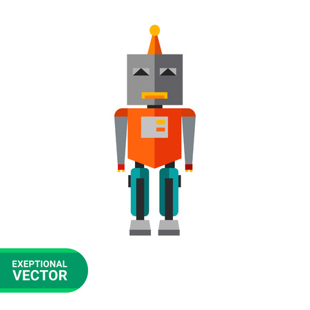 metal legs: Multicolored vector icon of standing robot toy