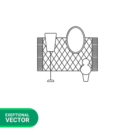 flower room: Monochrome vector icon of room decor elements, carpet, stand lamp, mirror and flower Illustration