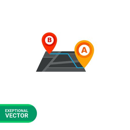 starting: Multicolored vector icon of schematic route with starting and destination map pointers named with letters