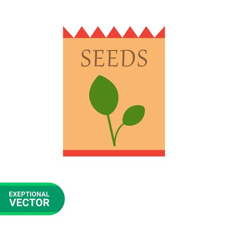 sprout: Vector icon of flower seed packet with sprout picture Illustration