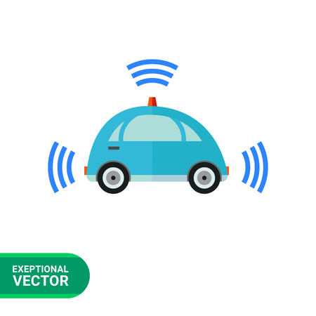 navigating: Multicolored flat icon of blue self-driving car with signal signs