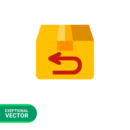 sent: Multicolored vector icon of parcel being sent back Illustration