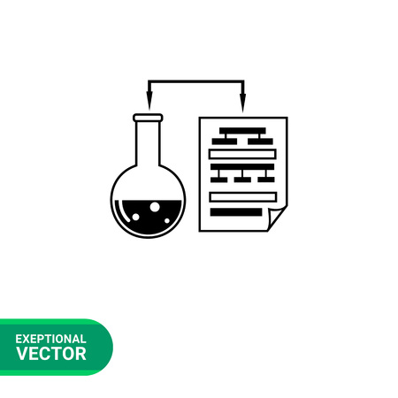 metodo cientifico: Monochrome vector icon of laboratory experiment with chemical reaction and science data in paper sheet