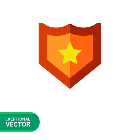 honor guard: Multicolored vector icon of shield with yellow star Illustration