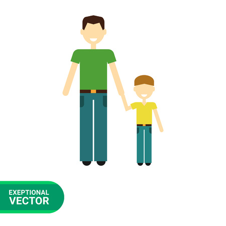 Icon of single-parent family consisting of one man and one child