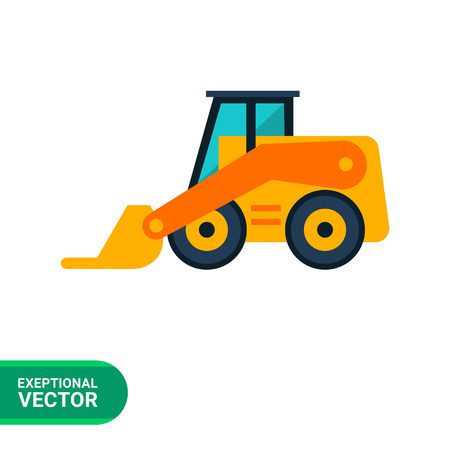skid: Multicolored vector icon of yellow forklift truck Multicolored vector icon of yellow skid loader Illustration