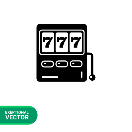 operate: Monochrome simple icon of slot machine with three seven jackpot display