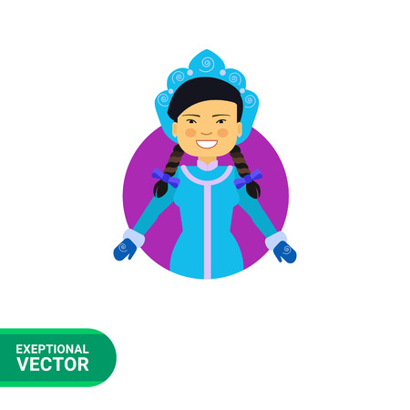 fancy dress: Female character, portrait of smiling Asian woman wearing blue fancy dress with mittens