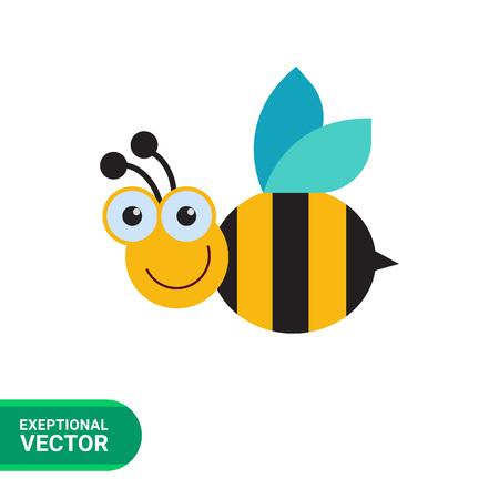 Vector icon of cute smiling cartoon bee 向量圖像