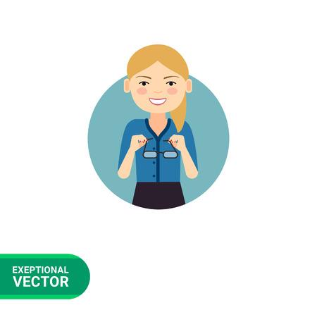 clerks: Female character, portrait of smiling businesswoman taking glasses off