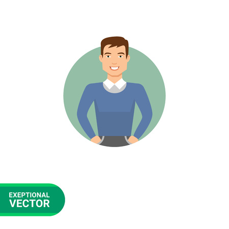 blue smiling: Male character, portrait of smiling young man in blue sweater Illustration