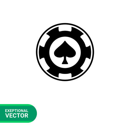 Monochrome simple icon of casino icon in form of spade poker chip