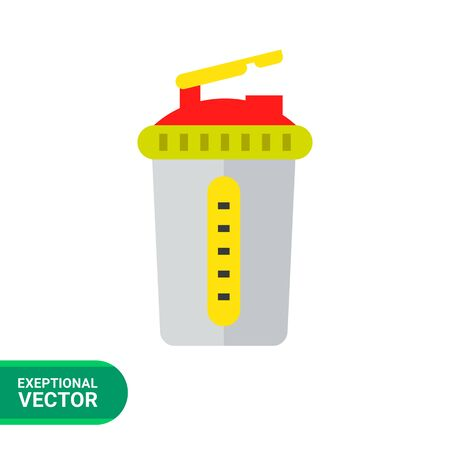 SHAKER: Multicolored flat icon of grey sport shaker with lid Illustration