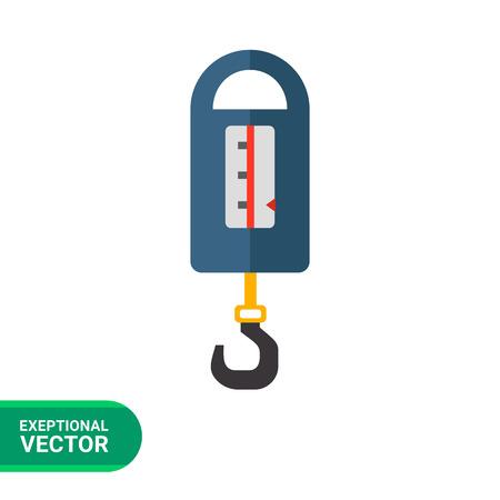 steelyard: Multicolored vector icon of blue steelyard balance with metal hook