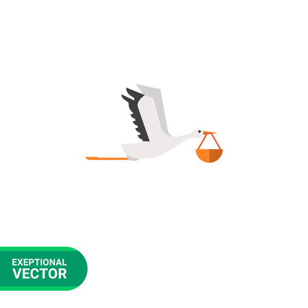 carrying: Vector icon of flying stork carrying bundle in its beak