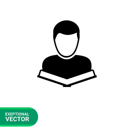 undergraduate: Monochrome vector icon of student with open book