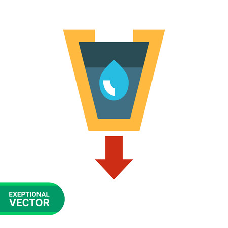 filtering: Vector icon of stylized funnel with liquid drop and arrow