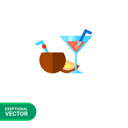colorful straw: Summer drinks flat icon. Multicolored vector illustration of popular cocktails