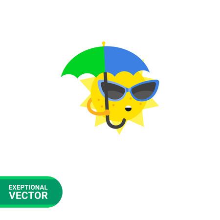 surprising: Sun with umbrella vector icon. Multicolored illustration of cartoon sun wearing sunglasses and holding umbrella