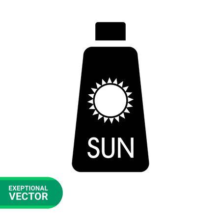 sunblock: Sunblock cream flat icon. Vector illustration of skin cream bottle with sun sign