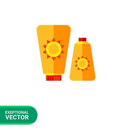 Sunblock cream icon. Multicolored vector illustration of two skin cream tubes with sun sign