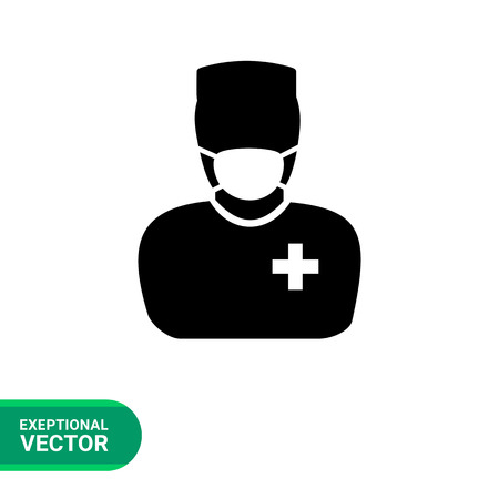 surgeons hat: Surgeon vector icon. Simple illustration of male character in mask and surgeon uniform Illustration