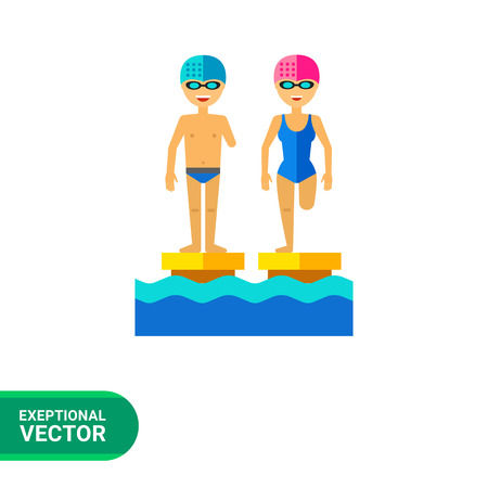 amputated: Multicolored flat icon of disabled people with amputated limbs in swimming pool Illustration