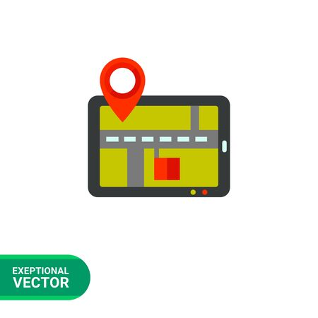 gps navigator: Multicolored vector icon of tablet PC with GPS navigator map and big map pointer