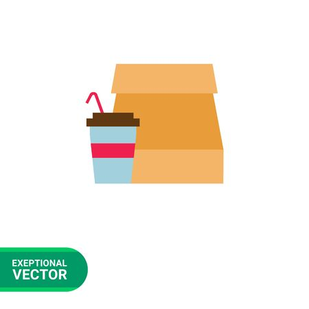 Icon of paper bag and disposable cup with straw Illustration