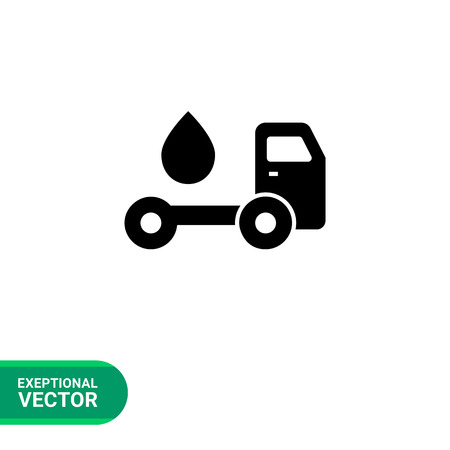 Vector icon of tanker truck with fuel drop