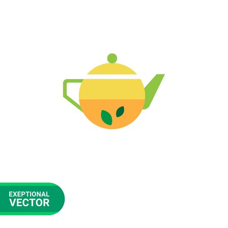 Icon of teapot with tea and mint leaves inside