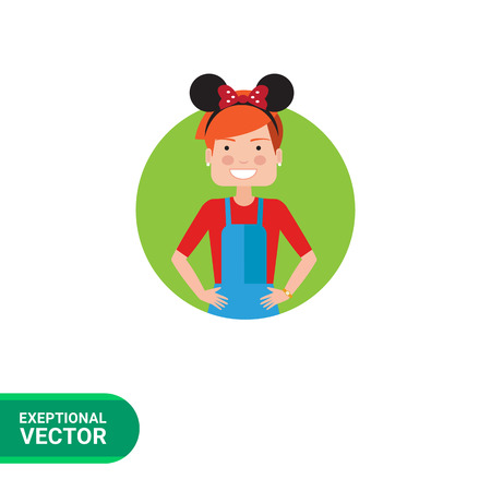 Female character, portrait of teenage girl wearing headband with Mickey Mouse ears Stock Vector - 59604206