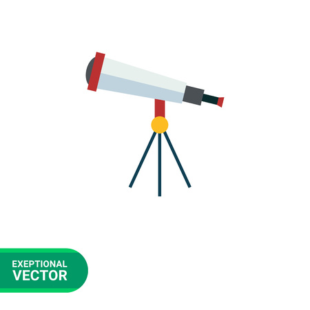 icon red: Multicolored vector icon of optical telescope