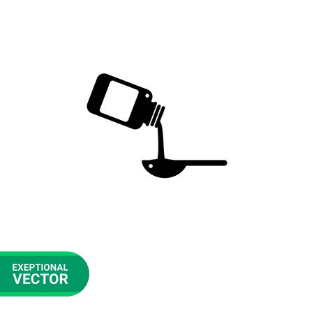 Syrup simple icon. Vector illustration of bottle pouring syrup into spoon