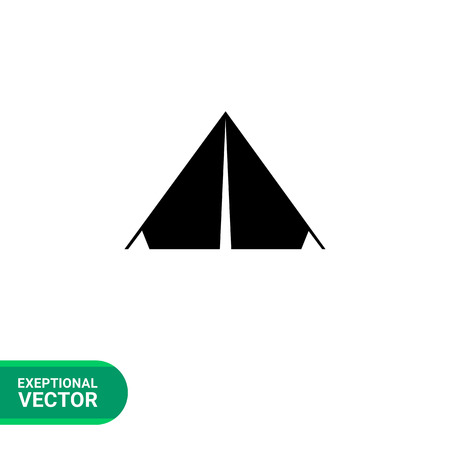 pitching: Monochrome vector simple icon of triangle camp tent Illustration